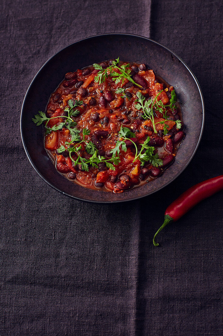 Vegan two bean chill with coriander