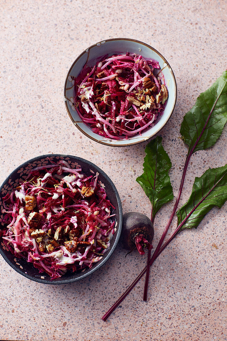 Bean sprout salad with beetroot, tahini, honey and apple