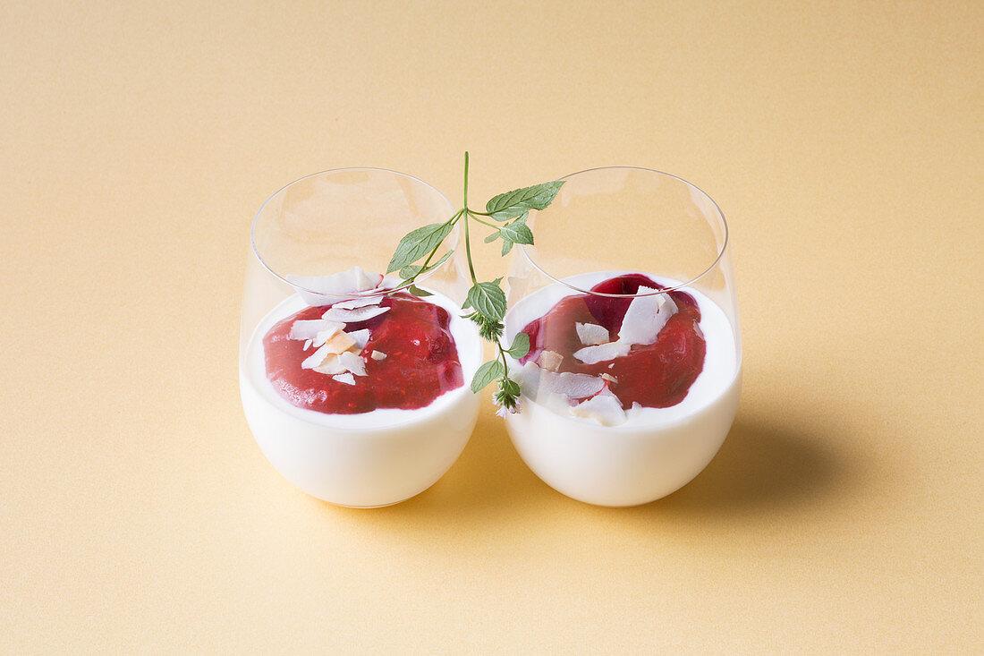 Coconut and quark cream with raspberry foam (keto cuisine)