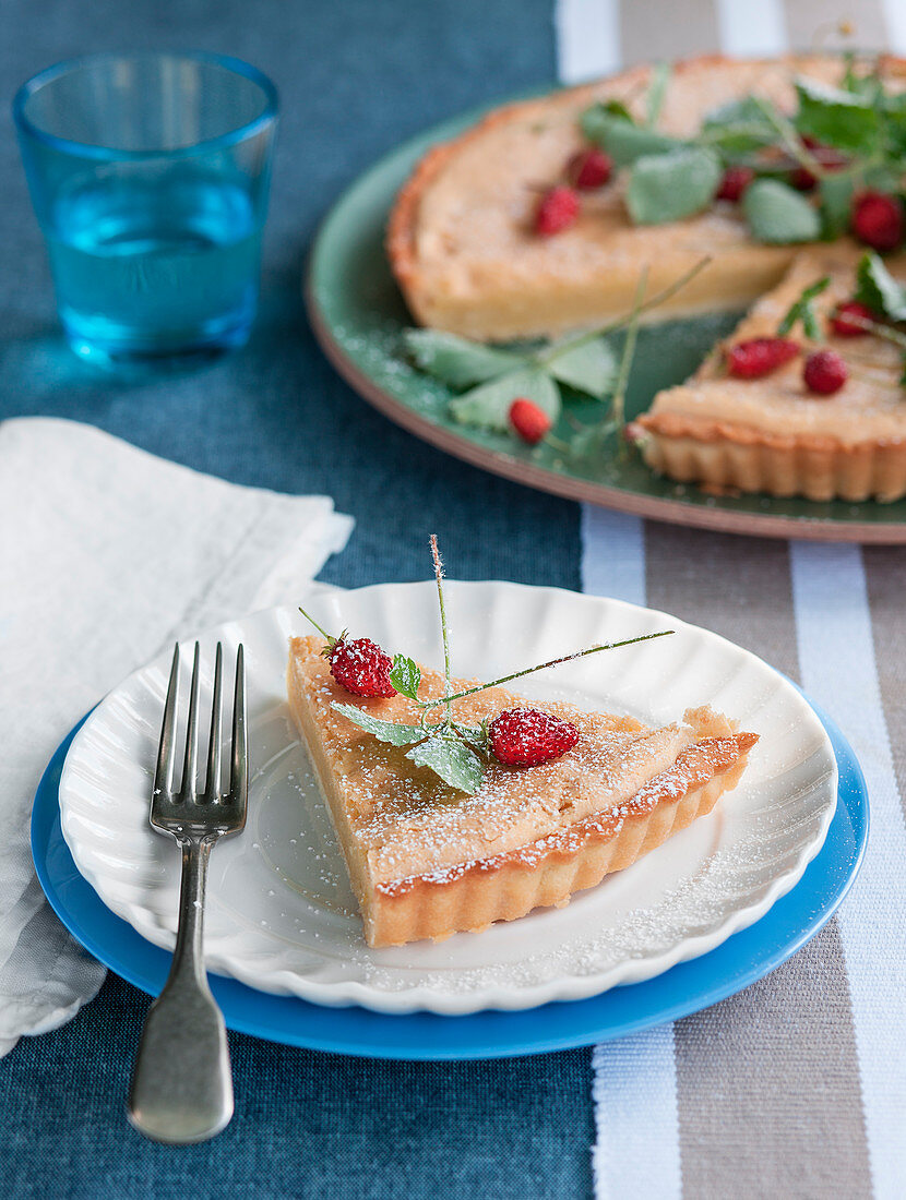 Marzipan tart with wild strawberries