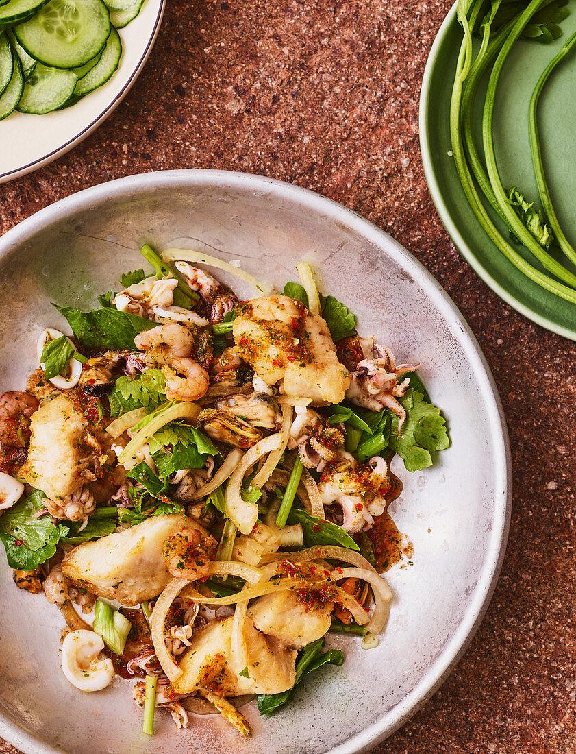 Thai seafood salad with Thai celery