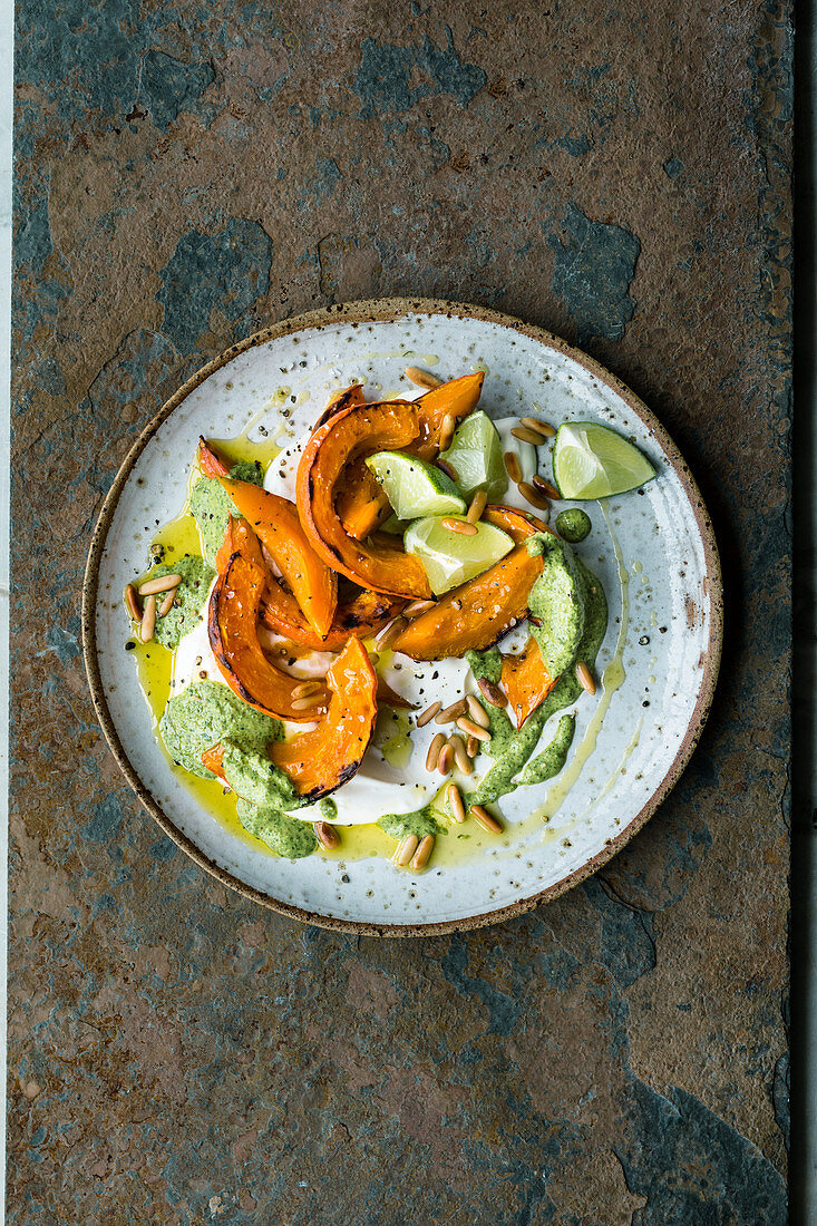 Oven-roasted Israeli pumpkin with honey and a coriander sauce