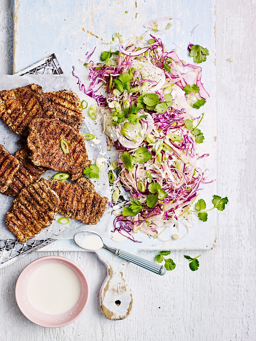 Fennel-Rubbed Pork Fennel and Apple Slaw