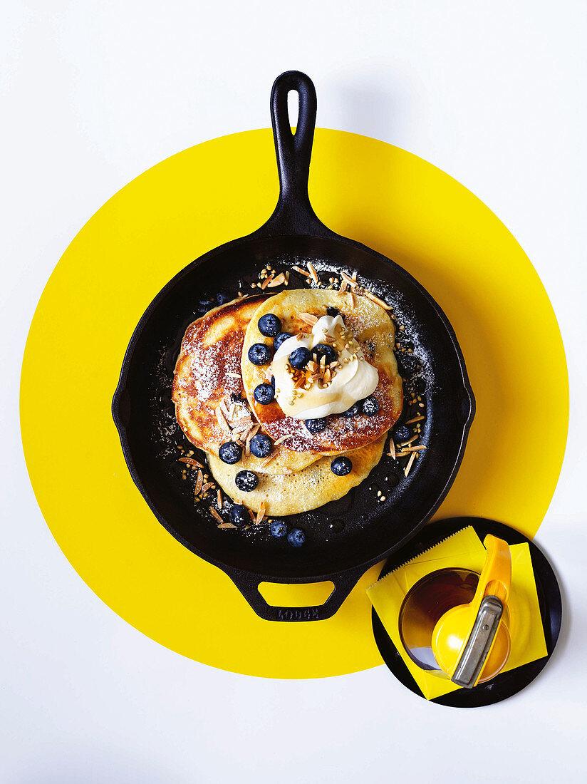 Blueberry and ricotta hotcakes