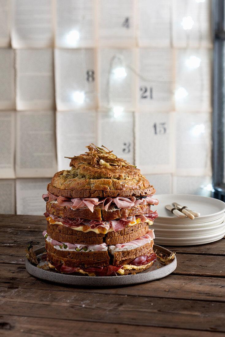 Savoury panettone cake with artichokes, Parmesan and ham
