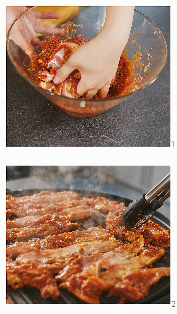 Korean pork bulgogo being made