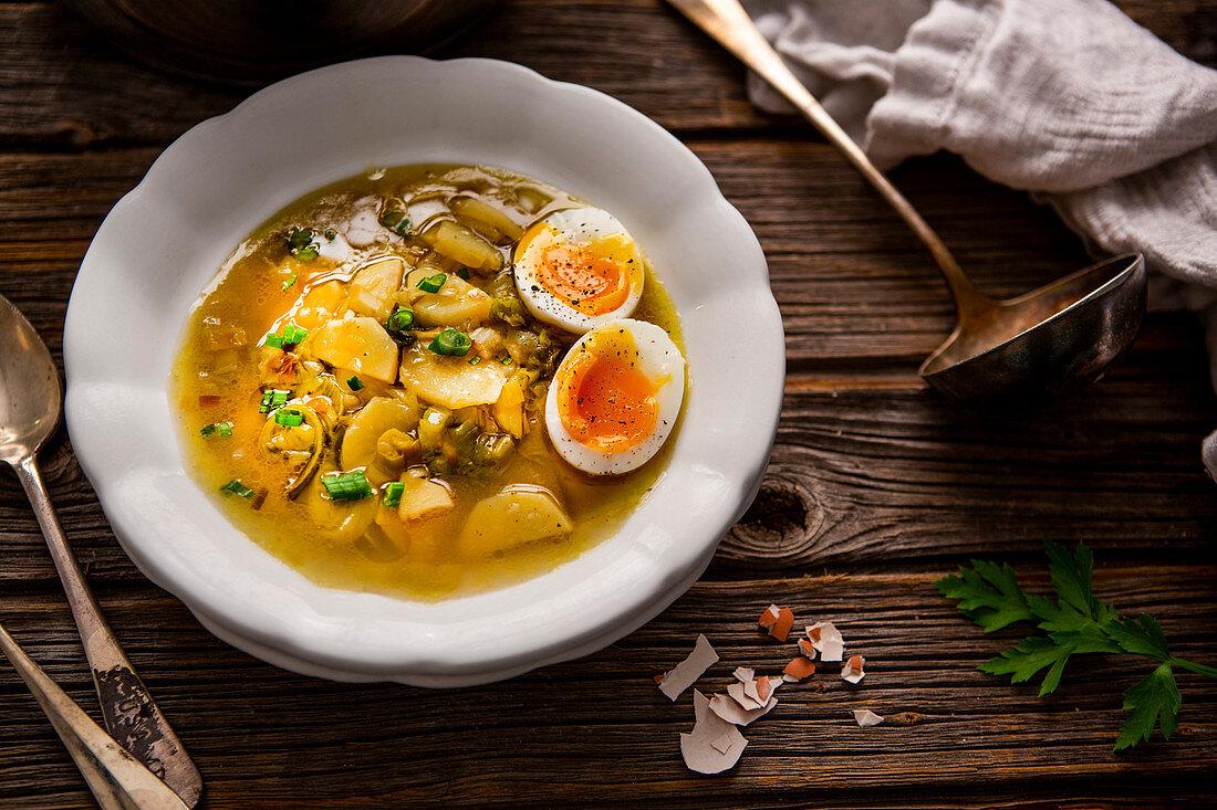 Potato and leek soup with a soft-boiled egg