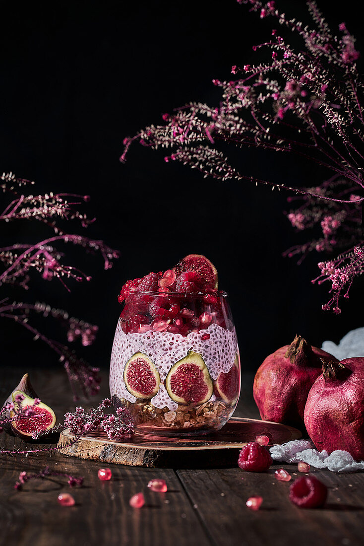 Chia pudding with fresh figs and raspberries