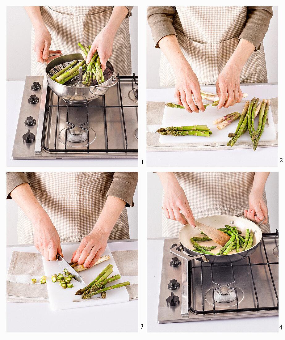 Green asparagus being prepared