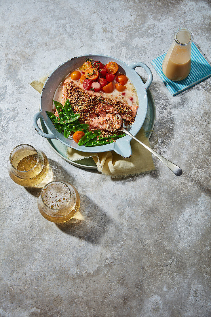 Almond-crusted salmon with mcc velouté