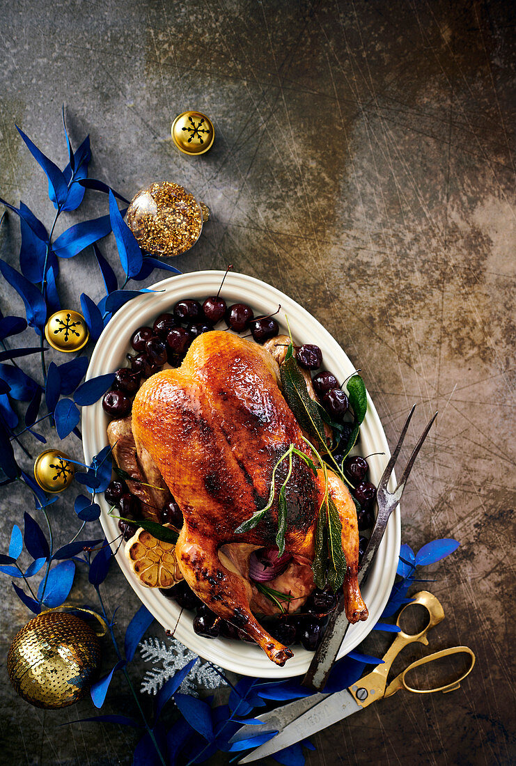 Maple-butter duck with sage-roasted cherries