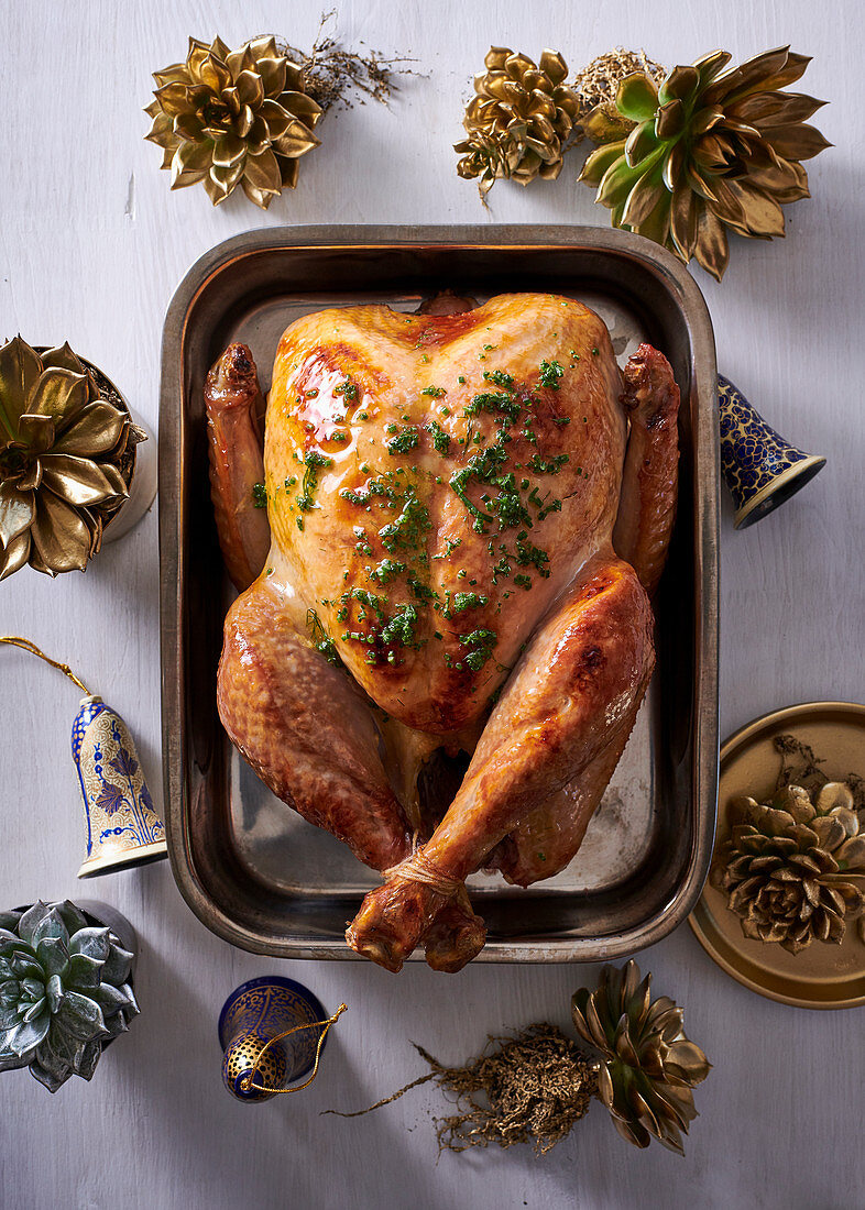 Roast turkey with herb and garlic butter