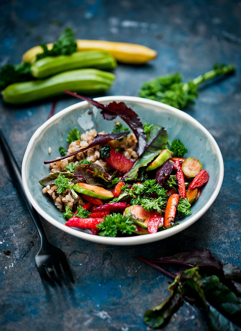 Buckwheat with caramelized vegetables