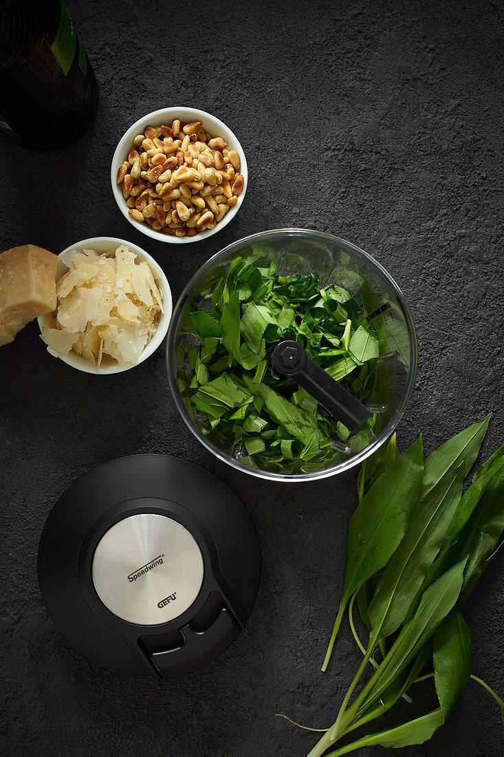 Ingredients for ramsons (wild garlic) pesto