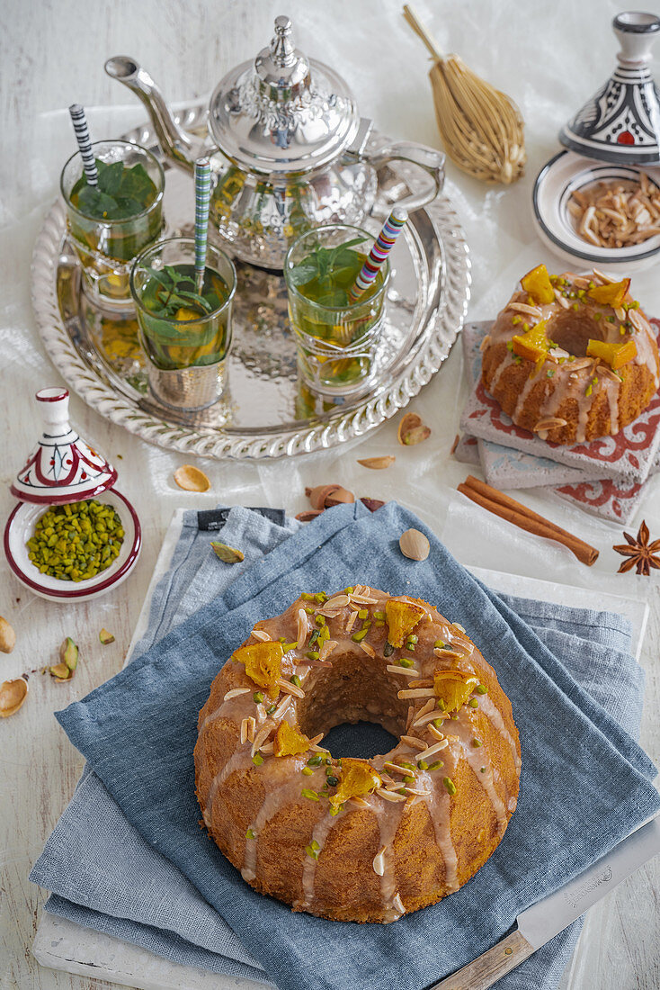 Moroccan spiced ring cake with chopped pistachios