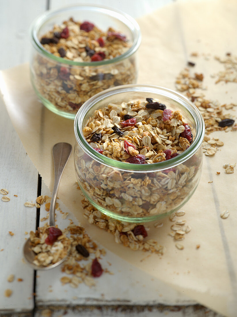 Fruit muesli with dried fruit and cashew nuts