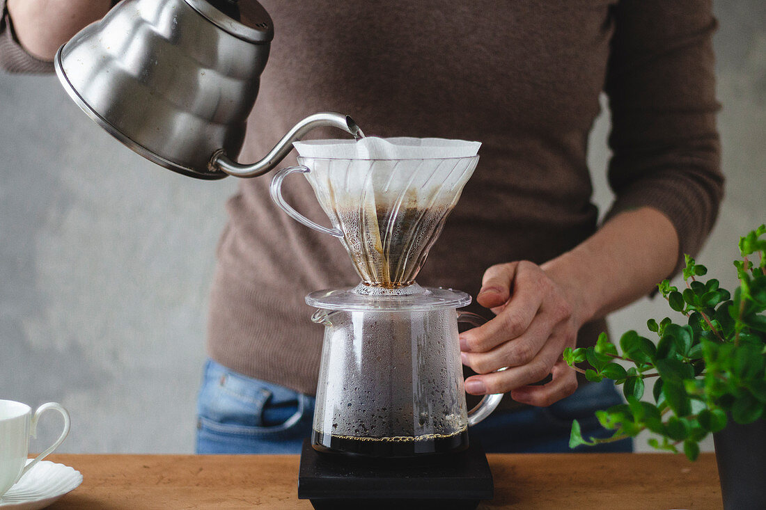 Coffee brewed with a hand filter