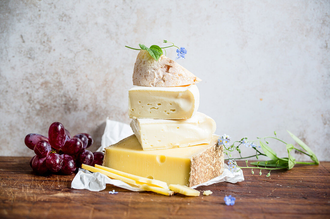 Different types of cheese, stacked