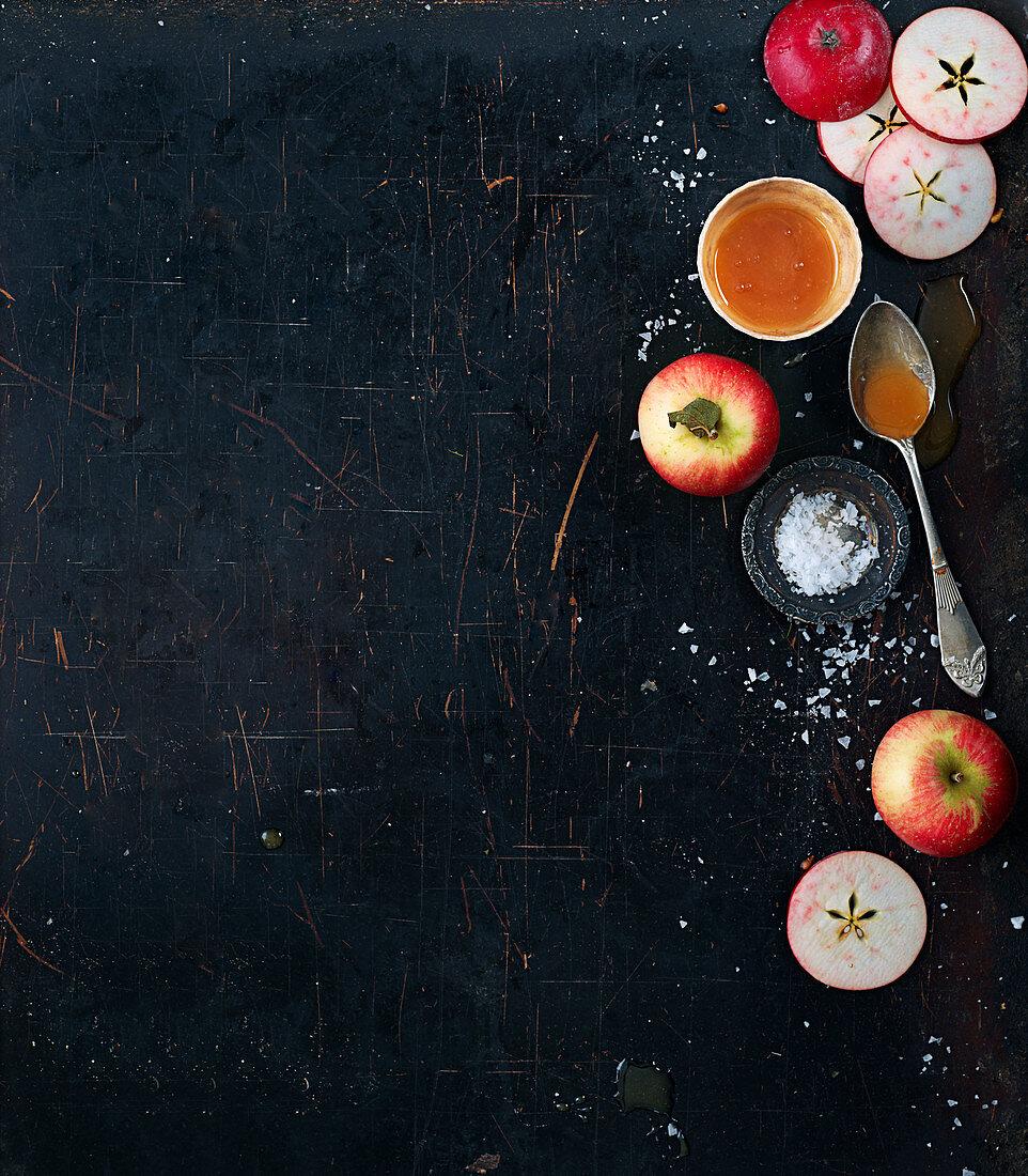 Apples, caramel and sea salt