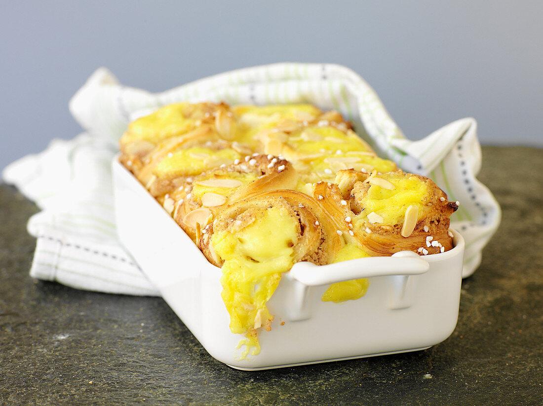 Swedish 'butterkaka' - cinnamon bun cake with almond paste filling and vanilla custard
