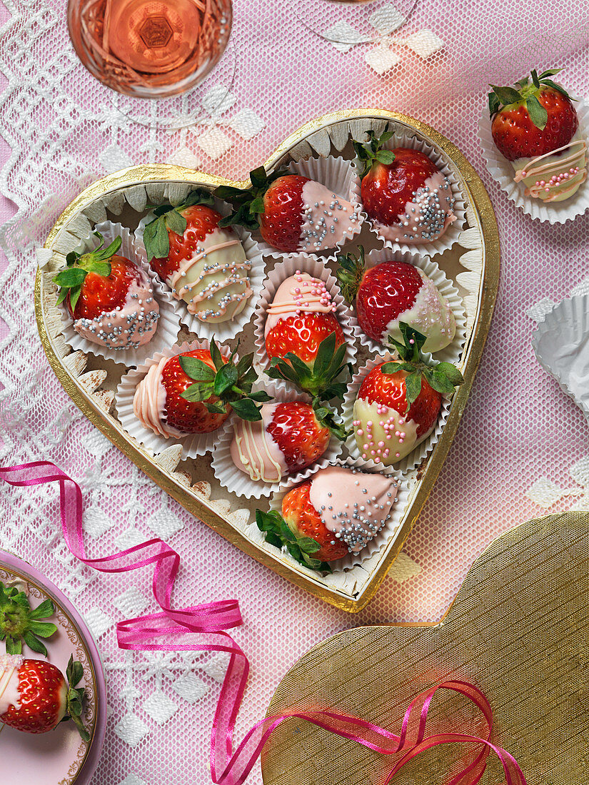 Strawberries dipped in white chocolate for Valentines day