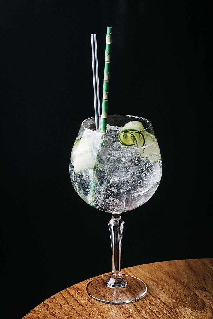 Gin and tonic with fresh cucumber