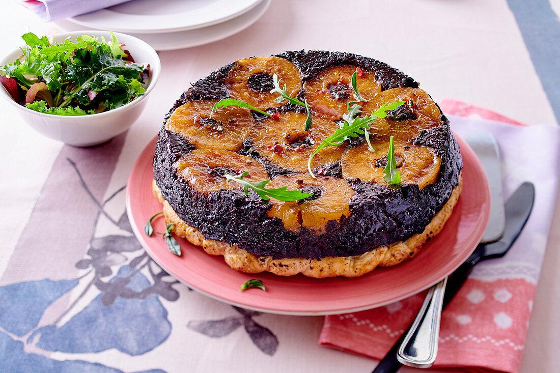 Black pudding and apple tart