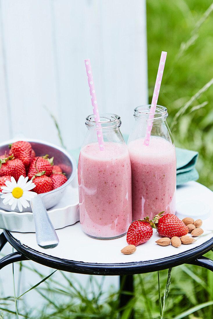 Strawberry almond milk