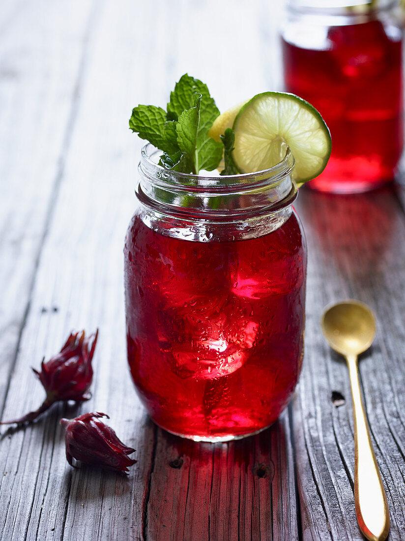 Refreshing hibiscus ice tea