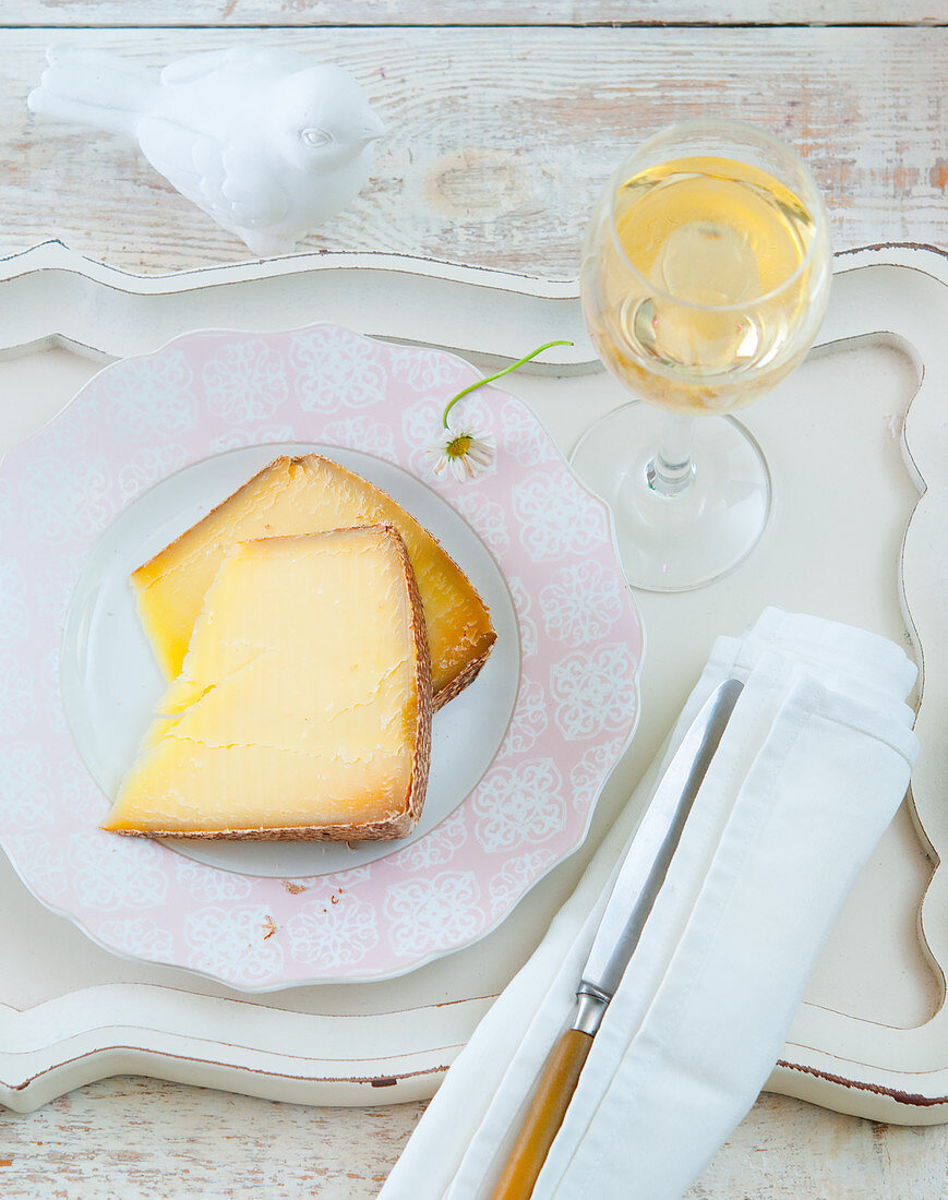 Mountain cheese and a glass of Riesling