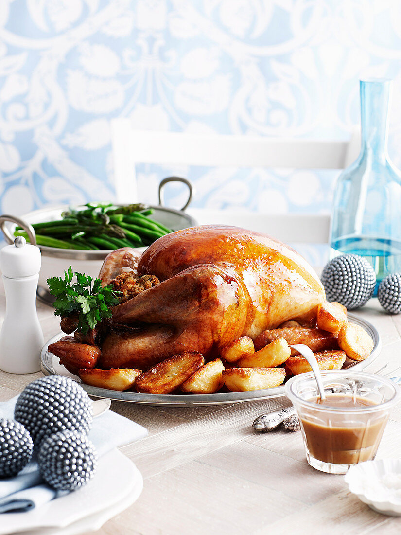 Whole roast turkey with bacon, onion and sage stuffing
