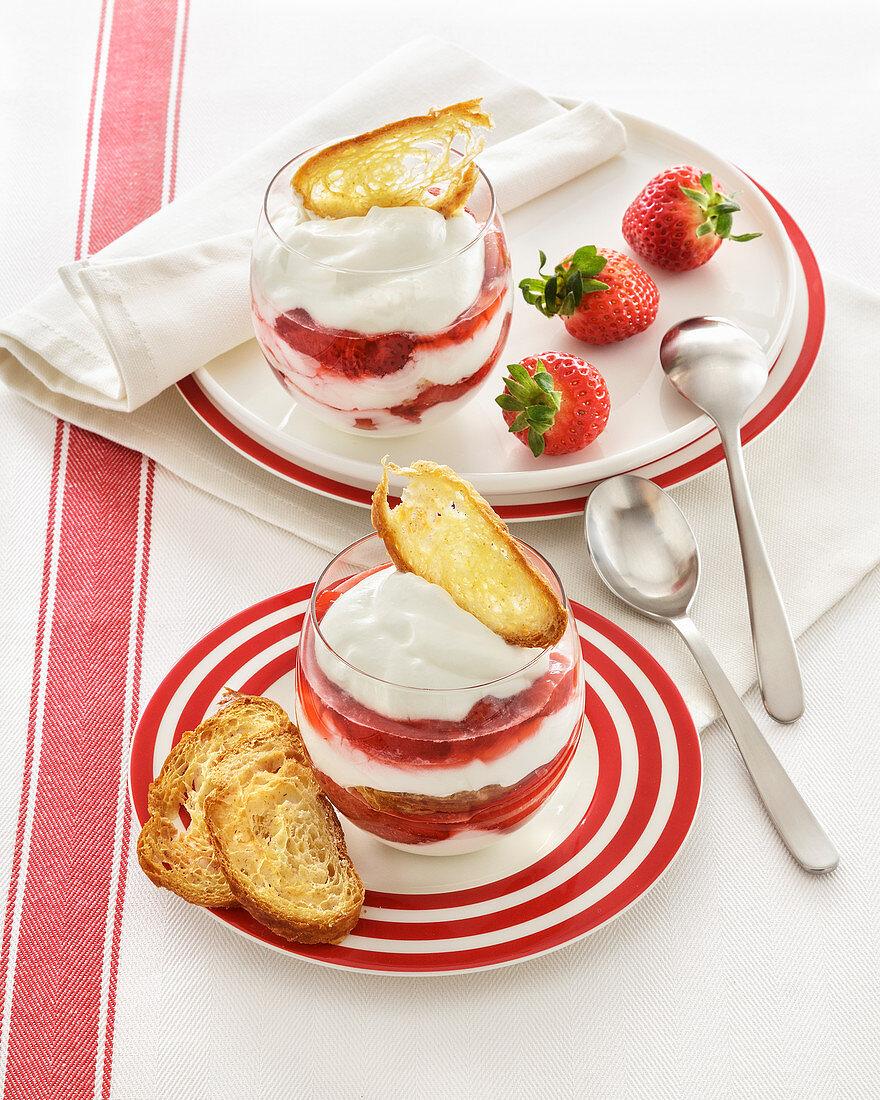 Strawberry yogurt dessert with toasted croissant