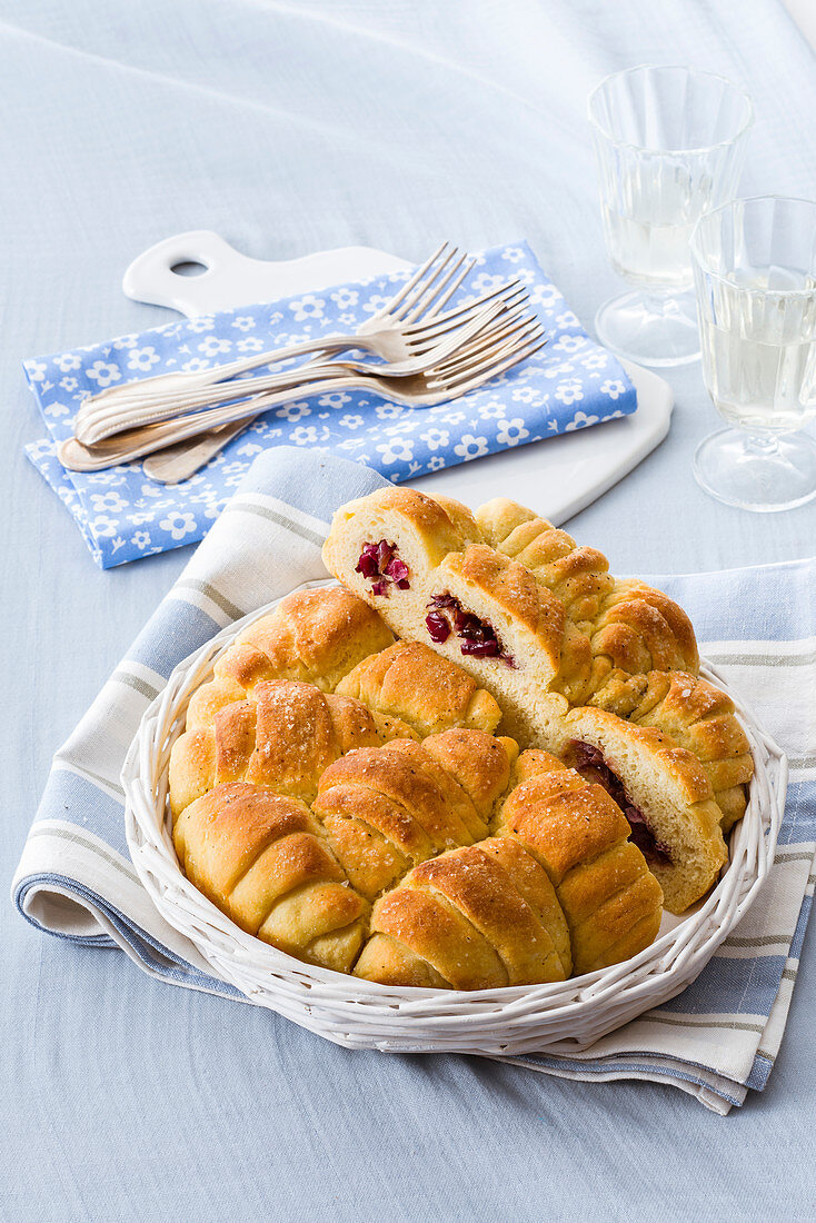 Croissant bread with onion and olive filling