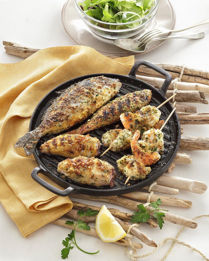 Grigliata impanata (Panierter Grillfisch, Italien)