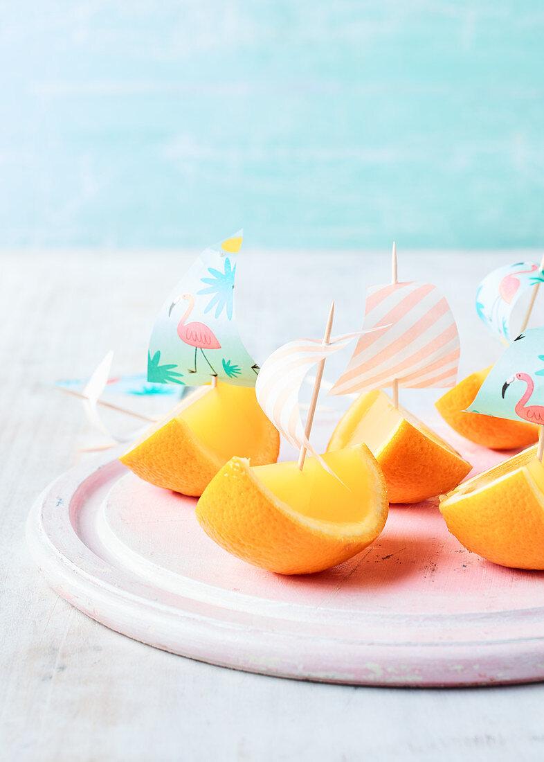 Orange Juice Jelly Boats