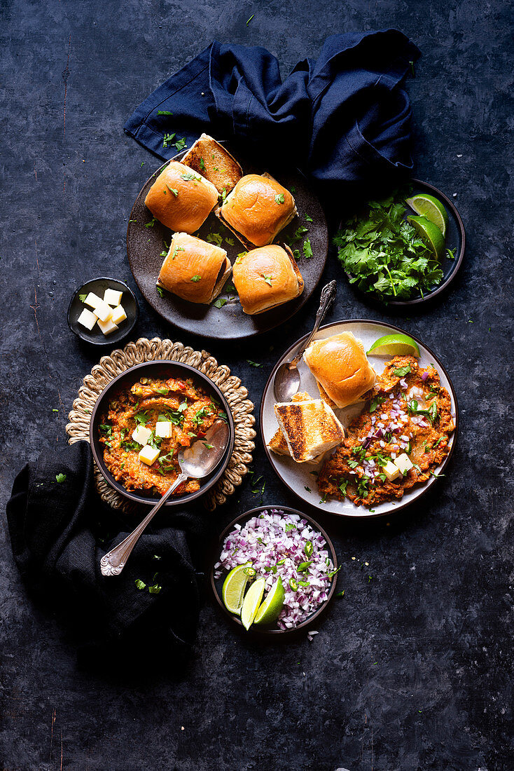 Pav Bhaji (vegetable puree, India) served with toasted buns