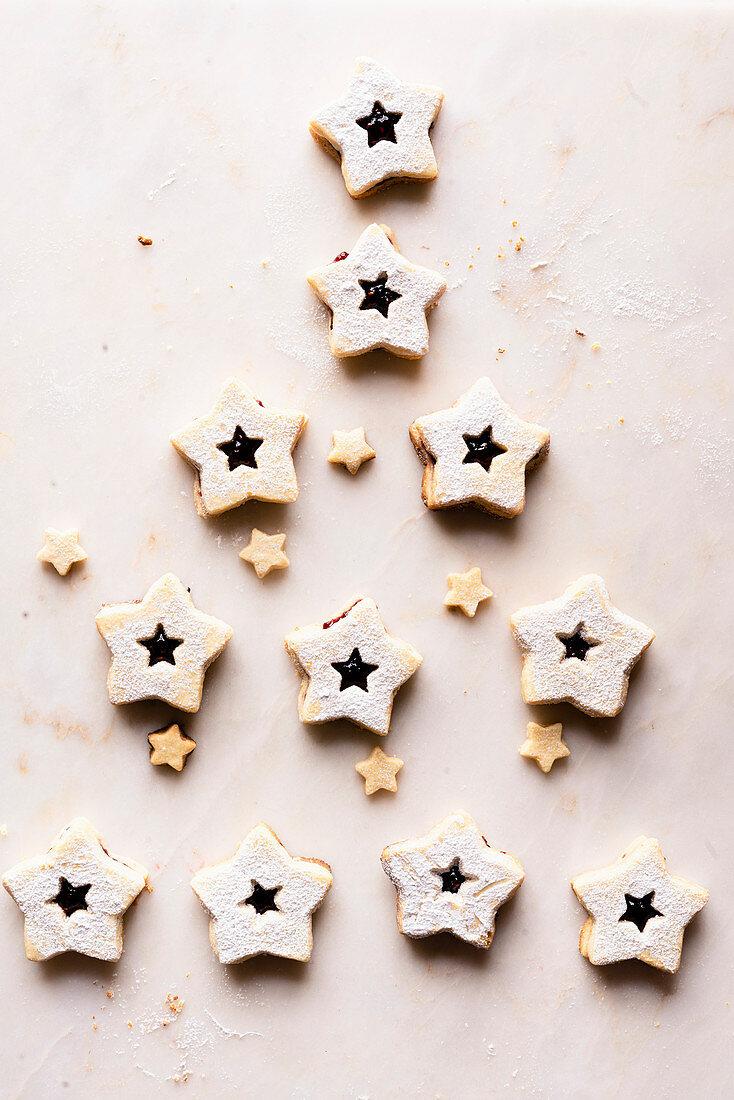 Linz gluten-free cookies with raspberry jam