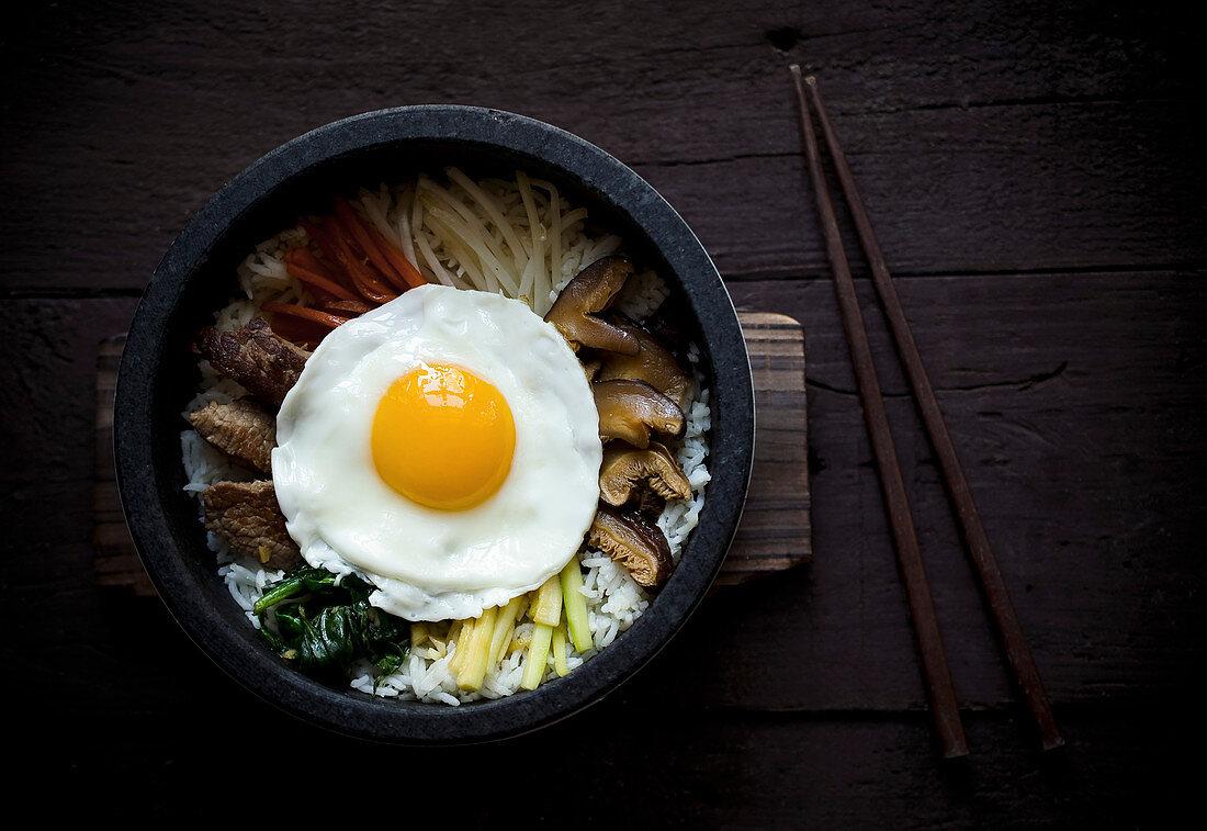 Dolsot Bibimbap with a fried egg (Korea)