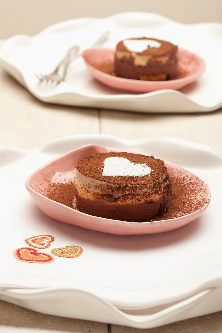 Ice cream tiramisu with a white heart
