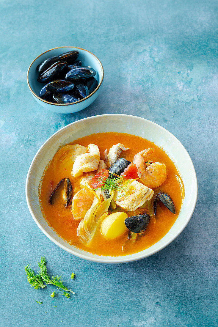 French bouillabaisse with fish, shrimps and mussels