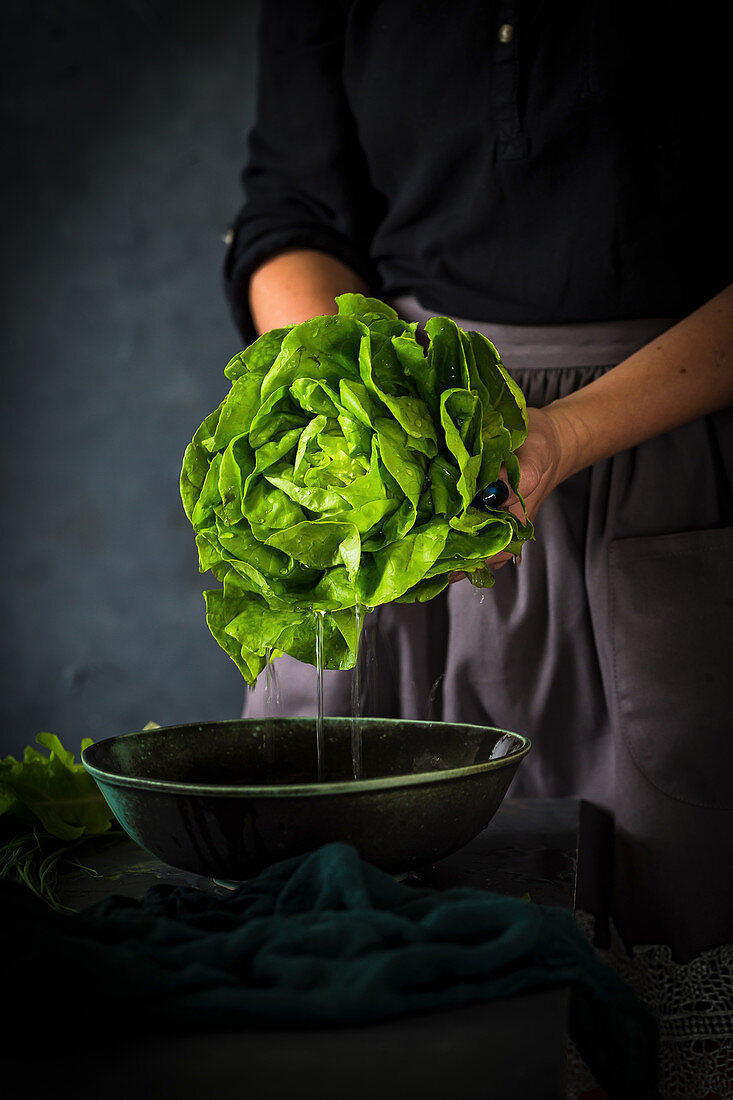 Lettuce being washed