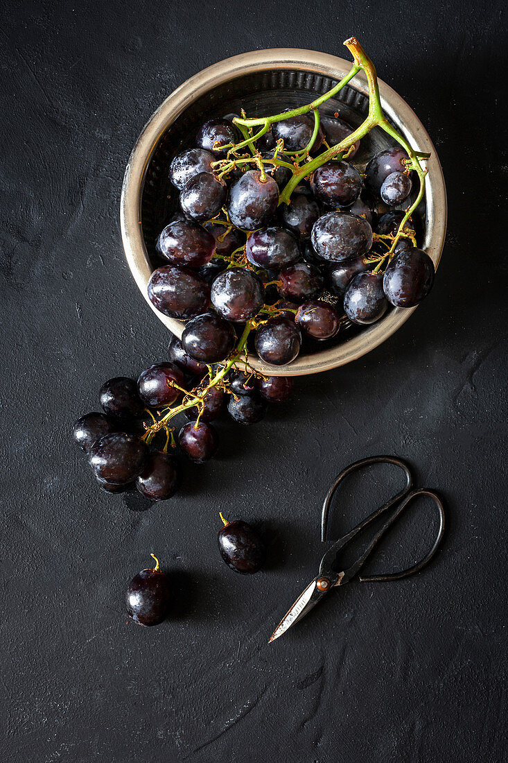 Bunch of fresh ripe red grapes in bowl placed near scissors on black background