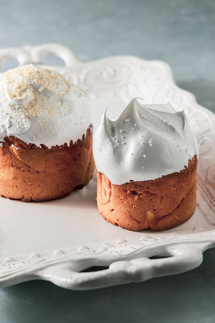 Easter cakes decorated with meringue cream