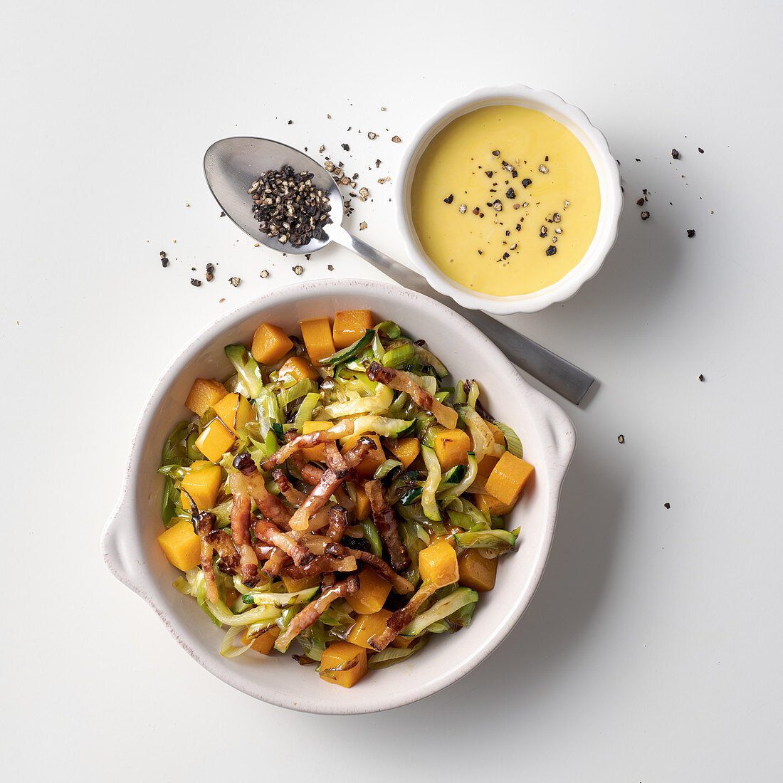 Summer vegetable carbonara with smoked scamorza cheese