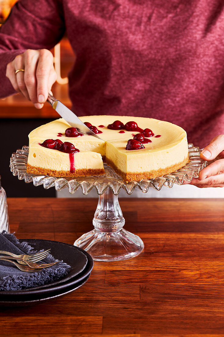 New York Cheesecake mit Butterkeksboden