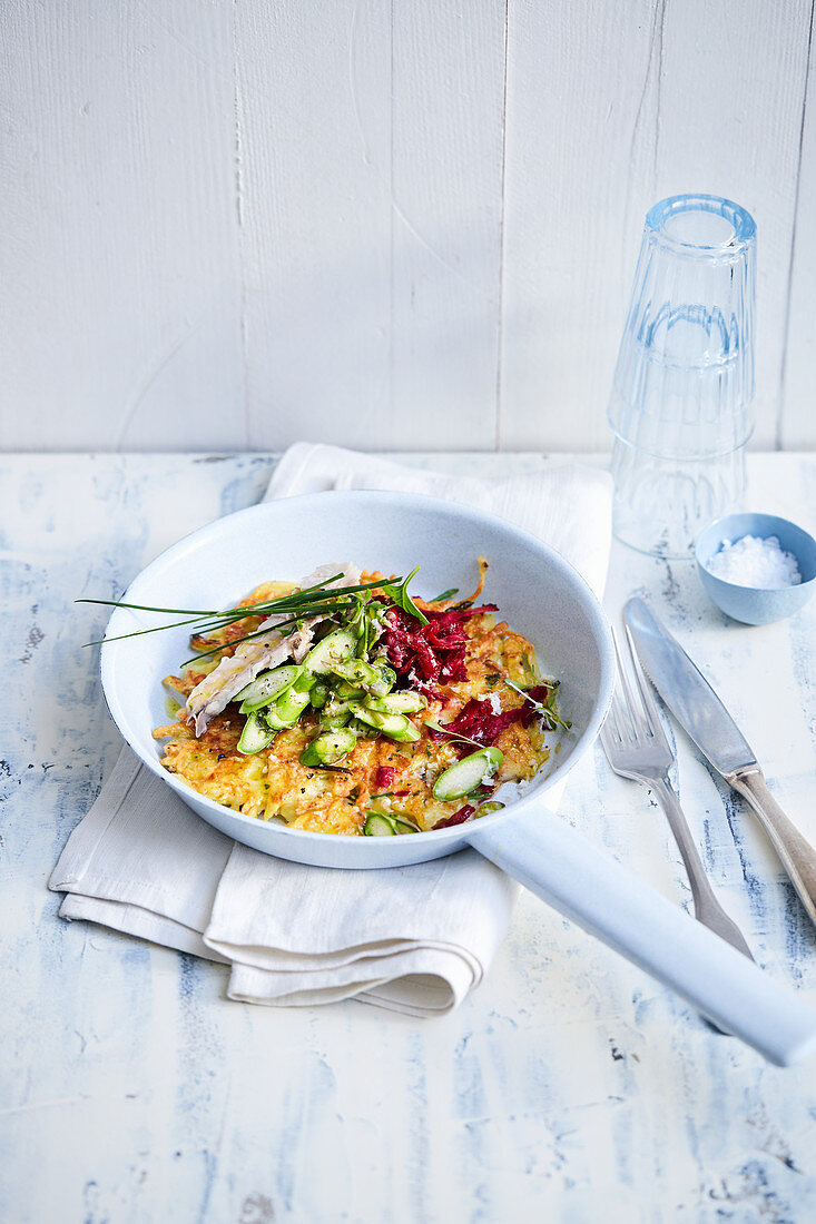 Asparagus hash browns with mackerel and beetroot