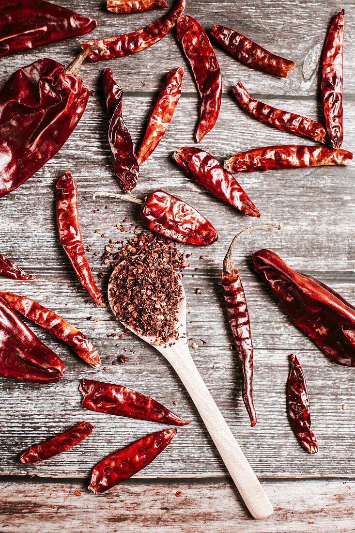 Colorful dry hot peppers and chilli flakes