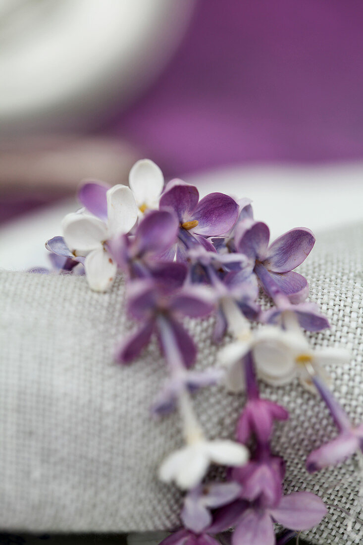 Napkin ring made from strings of lilac florets