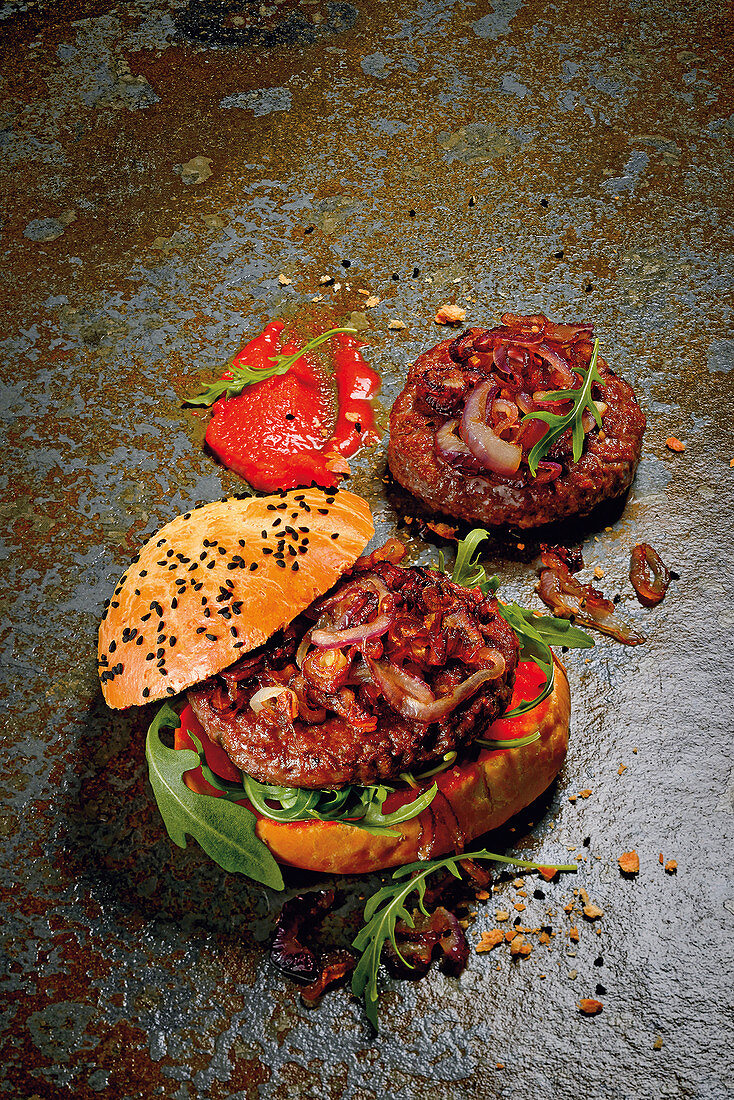 Dry aged beef burger with lobster butter