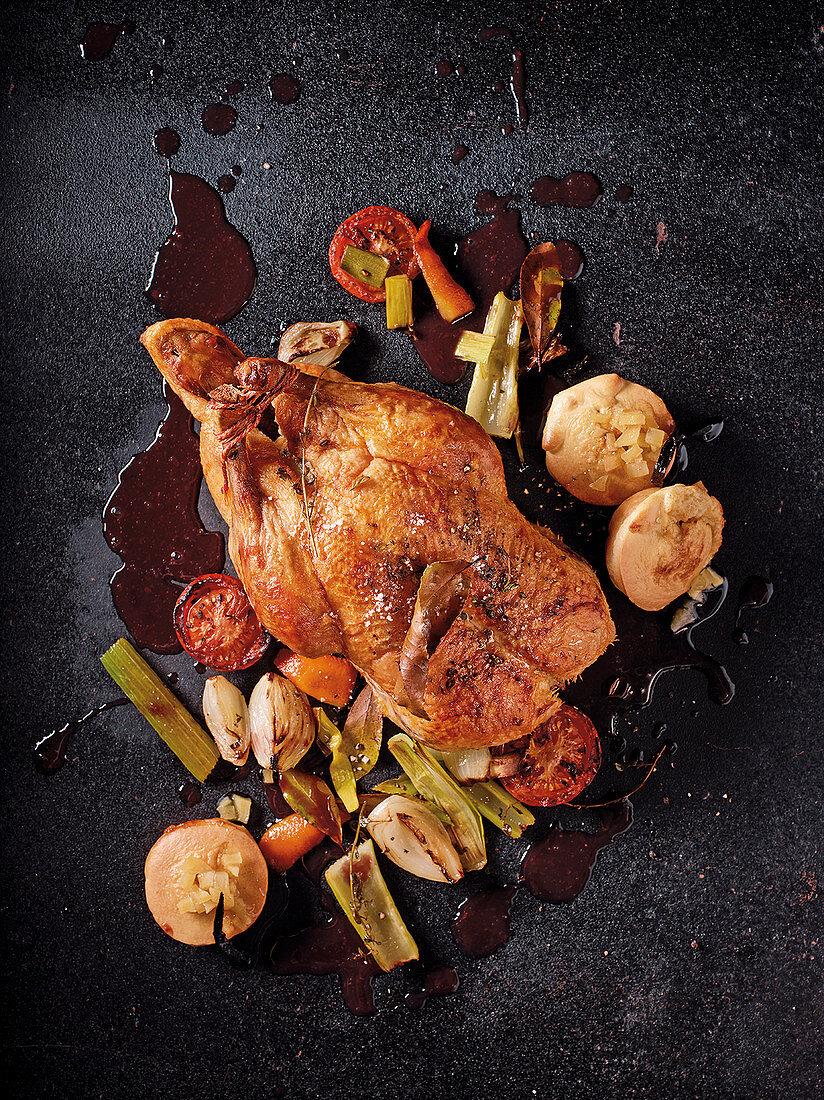 Roast duck with Swabian quince soufflé